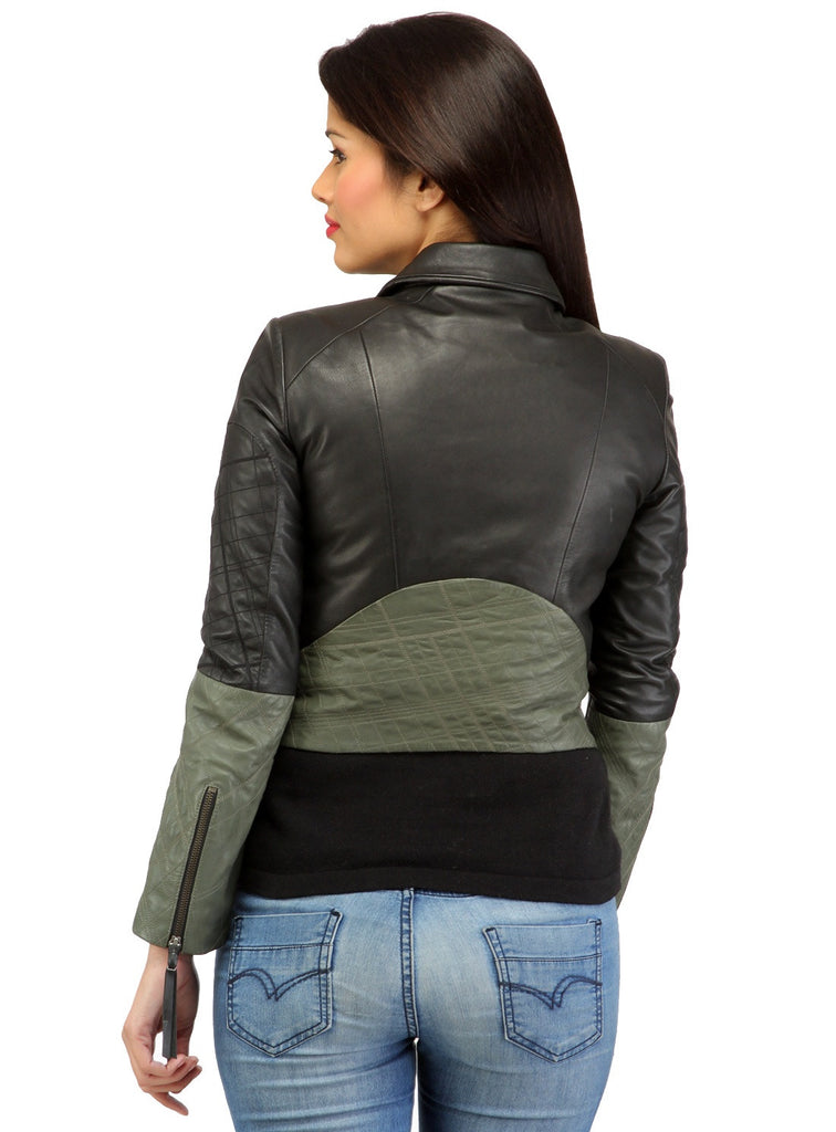 Women Short Bolero Biker Jacket in dual color. , Women Jacket - CrabRocks, LeatherfashionOnline  - 3