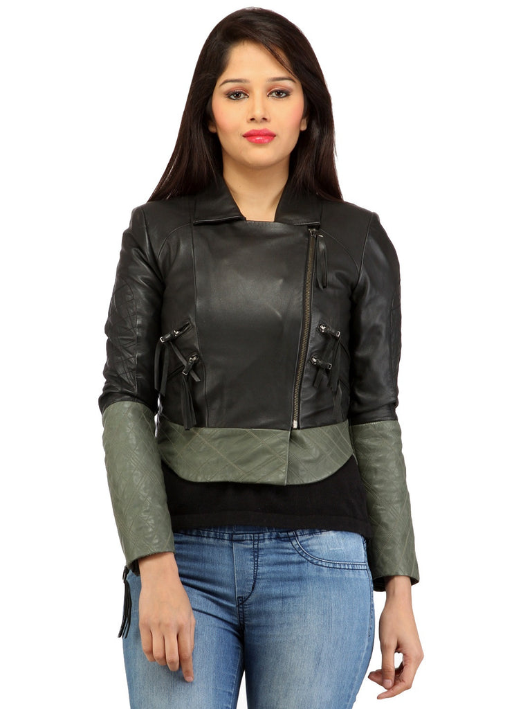 Women Short Bolero Biker Jacket in dual color. XS / LEATHER / Black/Grey, Women Jacket - CrabRocks, LeatherfashionOnline  - 1