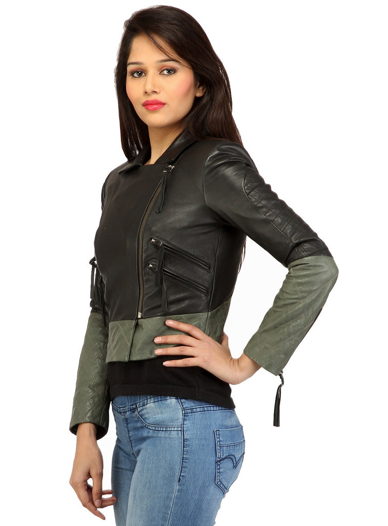 Women Short Bolero Biker Jacket in dual color. , Women Jacket - CrabRocks, LeatherfashionOnline  - 2