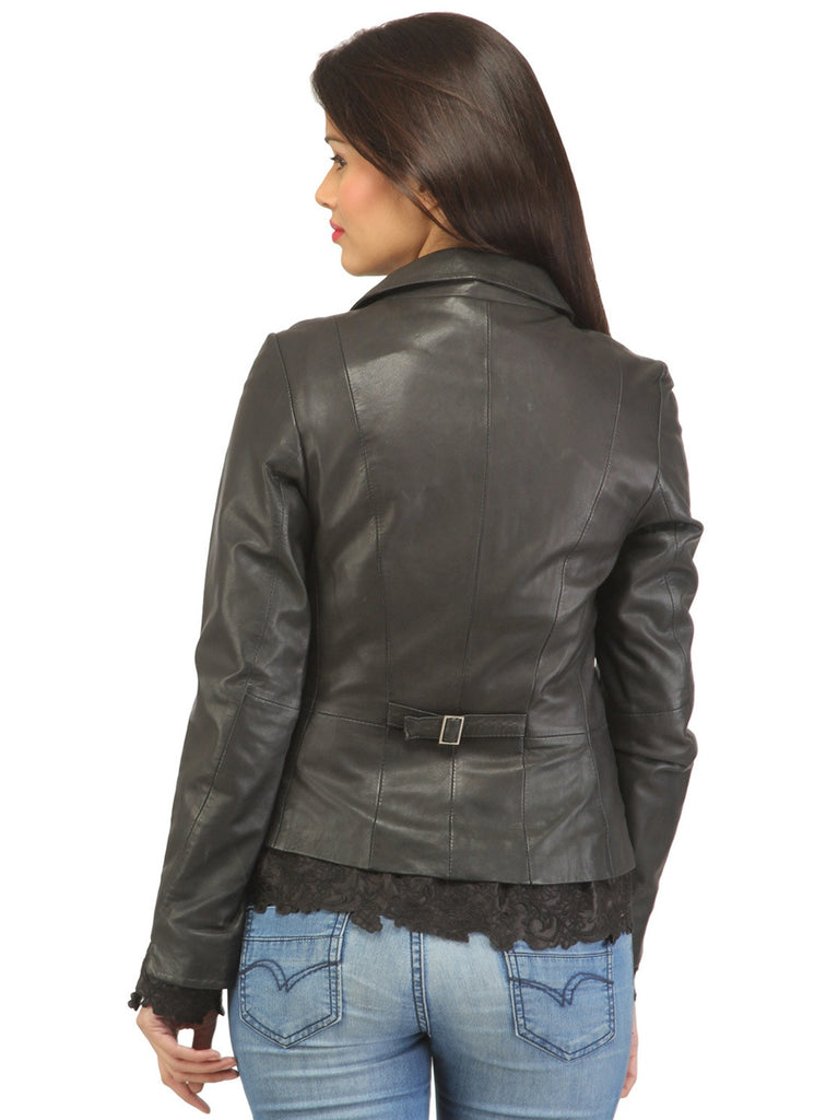 Women Leather Fitted Blazer , Women Jacket - CrabRocks, LeatherfashionOnline  - 3