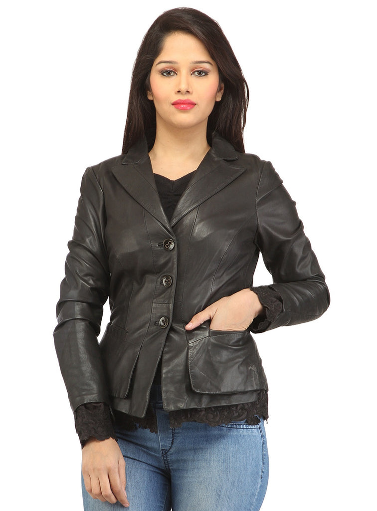 Women Leather Fitted Blazer Black / XS / LEATHER, Women Jacket - CrabRocks, LeatherfashionOnline  - 1