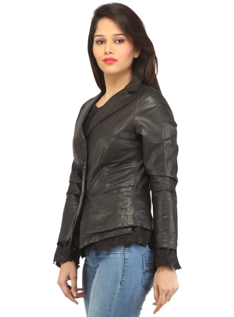 Women Leather Fitted Blazer , Women Jacket - CrabRocks, LeatherfashionOnline  - 2
