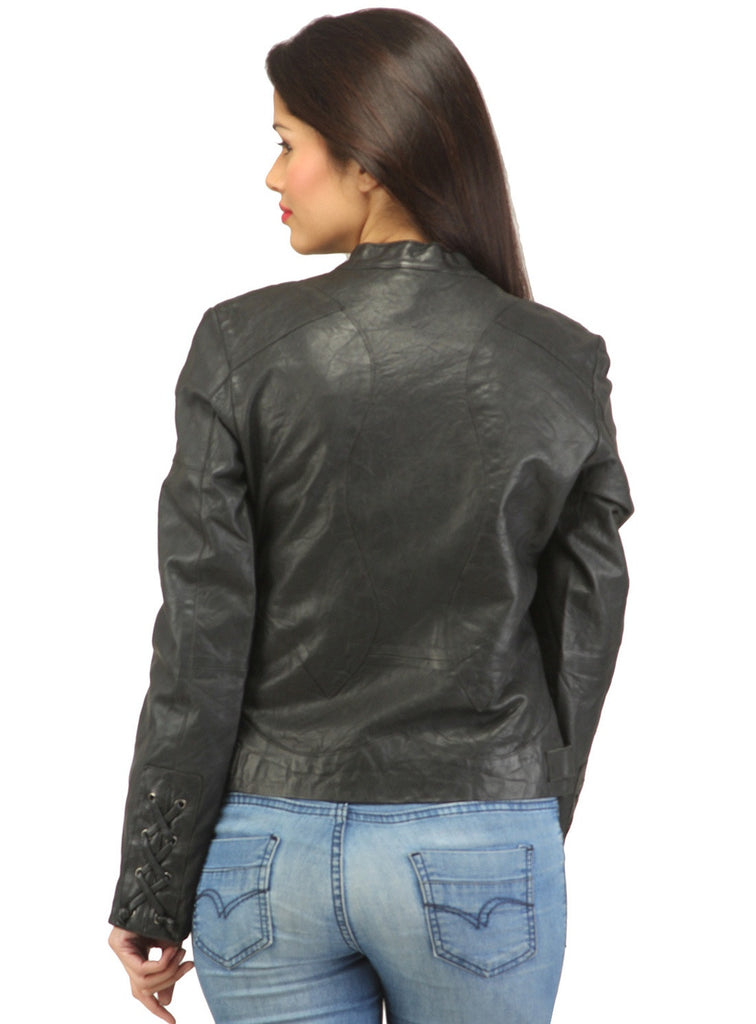 Women Leather Washed Rivet Jacket , Women Jacket - CrabRocks, LeatherfashionOnline  - 3