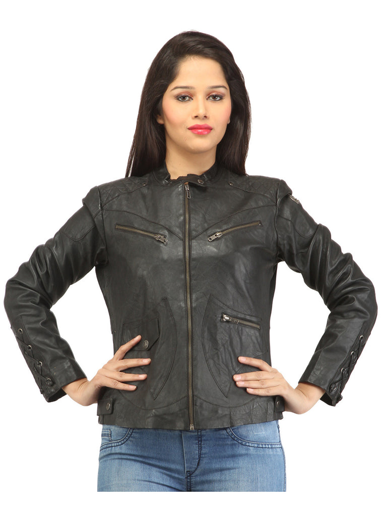 Women Leather Washed Rivet Jacket , Women Jacket - CrabRocks, LeatherfashionOnline  - 1