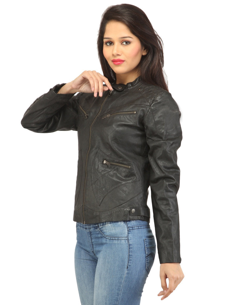 Women Leather Washed Rivet Jacket , Women Jacket - CrabRocks, LeatherfashionOnline  - 2