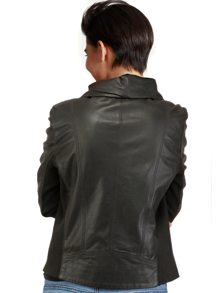 Linda Woman Designer High Collar Leather Jacket