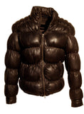 Designer Women Leather Puffer Down Jacket