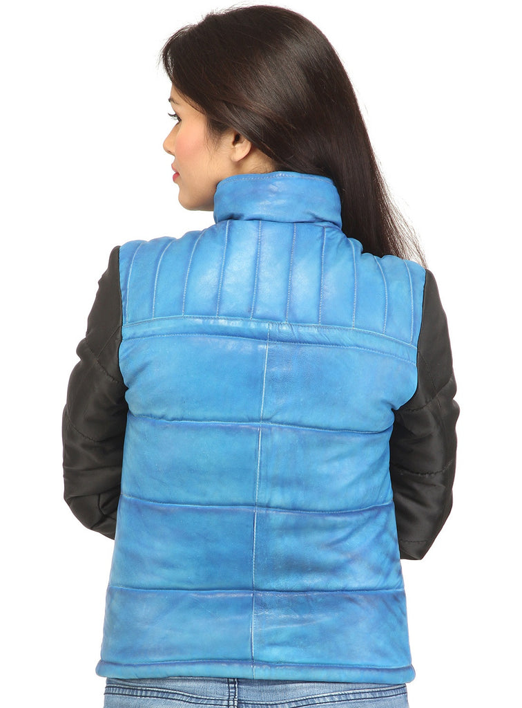 Women Hand Padded Best Seller Leather Puffer Jacket With Fabric Sleeve , Women Jacket - CrabRocks, LeatherfashionOnline  - 3