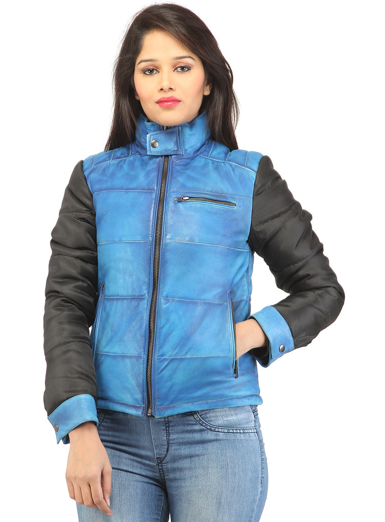 Women Hand Padded Best Seller Leather Puffer Jacket With Fabric Sleeve XS / LEATHER / Blue, Women Jacket - CrabRocks, LeatherfashionOnline  - 1