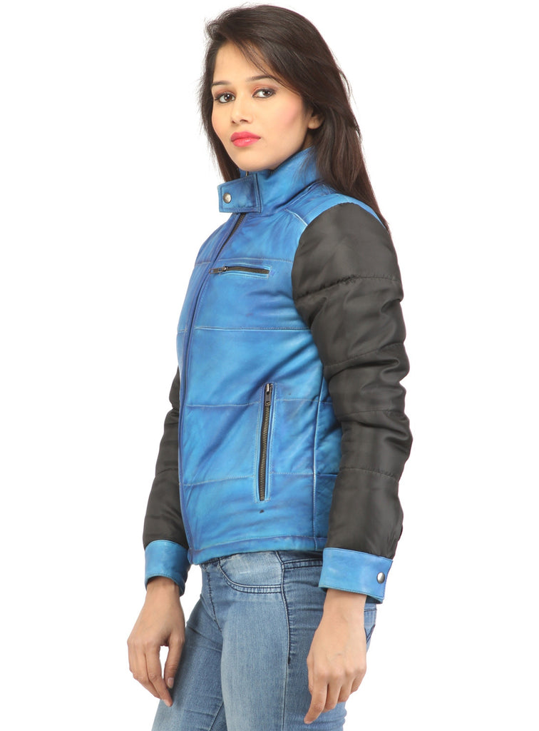 Women Hand Padded Best Seller Leather Puffer Jacket With Fabric Sleeve , Women Jacket - CrabRocks, LeatherfashionOnline  - 2