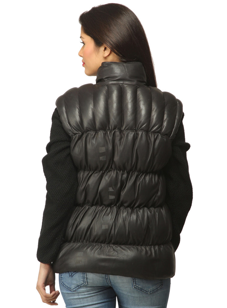 Designer Women Leather Puffer Down Jacket without Sleeve , Women Jacket - CrabRocks, LeatherfashionOnline  - 2