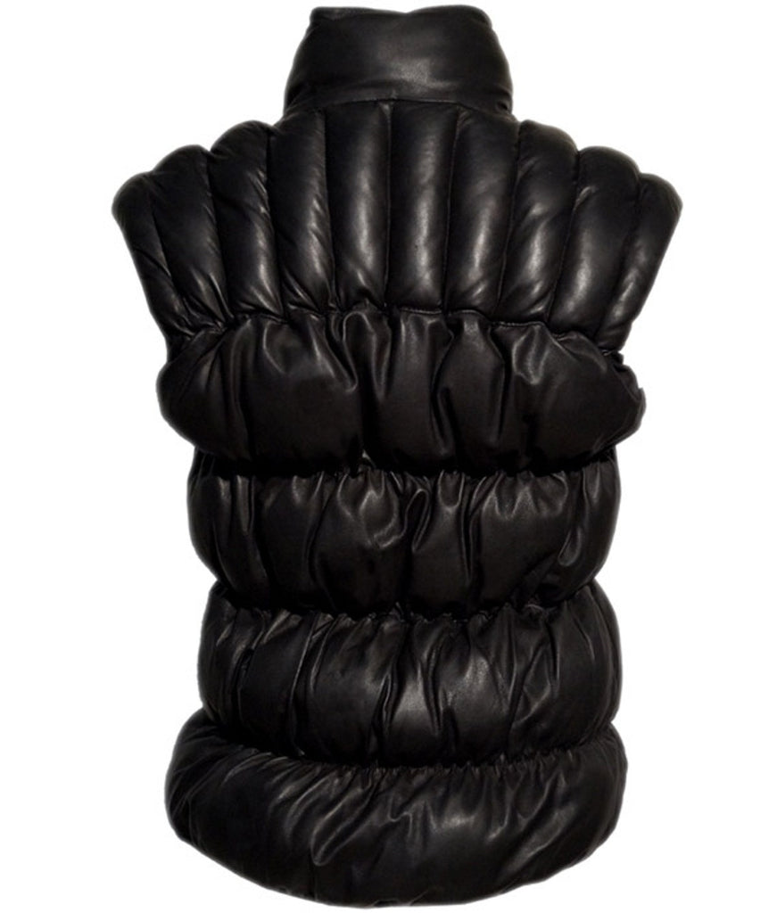 Designer Women Leather Puffer Down Jacket without Sleeve