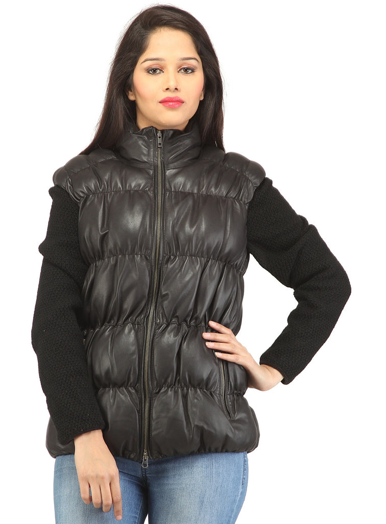 Designer Women Leather Puffer Down Jacket without Sleeve XS / LEATHER / Black, Women Jacket - CrabRocks, LeatherfashionOnline  - 1