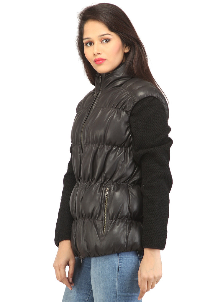 Designer Women Leather Puffer Down Jacket without Sleeve , Women Jacket - CrabRocks, LeatherfashionOnline  - 3