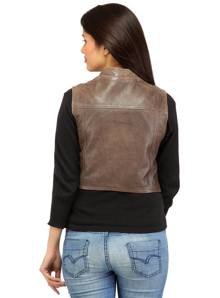 CrabRocks Leather Short Washed Biker Vest Coat with dropped front , Women Jacket - CrabRocks, LeatherfashionOnline  - 5