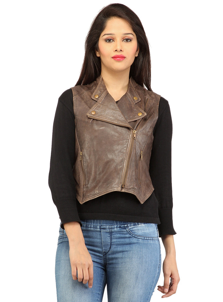 CrabRocks Leather Short Washed Biker Vest Coat with dropped front XS / LEATHER / Brown, Women Jacket - CrabRocks, LeatherfashionOnline  - 1