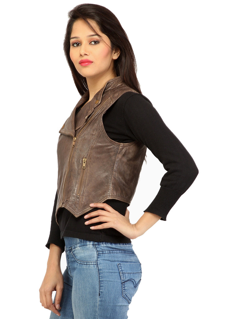 CrabRocks Leather Short Washed Biker Vest Coat with dropped front , Women Jacket - CrabRocks, LeatherfashionOnline  - 3