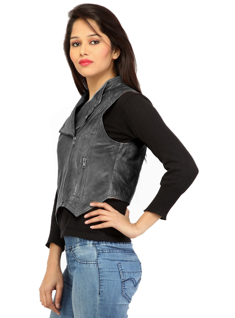 CrabRocks Leather Short Washed Biker Vest Coat with dropped front , Women Jacket - CrabRocks, LeatherfashionOnline  - 4