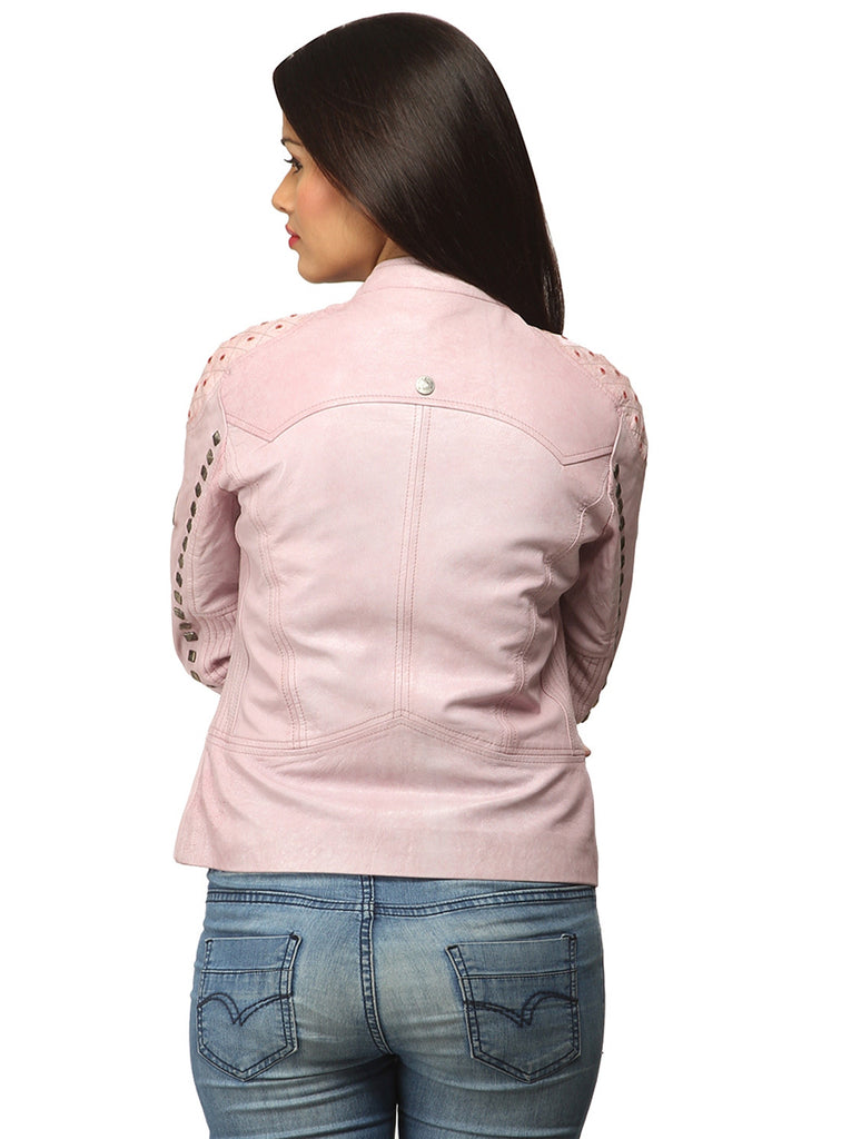 Women Casual distress Look Rivet Jacket , Women Jacket - CrabRocks, LeatherfashionOnline  - 3