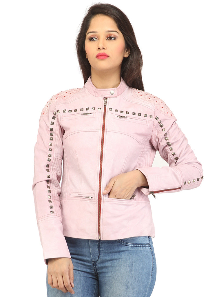 Women Casual distress Look Rivet Jacket , Women Jacket - CrabRocks, LeatherfashionOnline  - 1