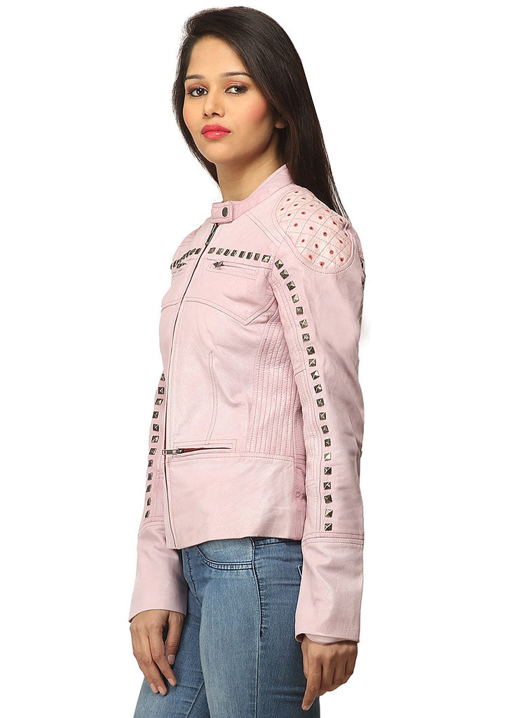 Women Casual distress Look Rivet Jacket , Women Jacket - CrabRocks, LeatherfashionOnline  - 2