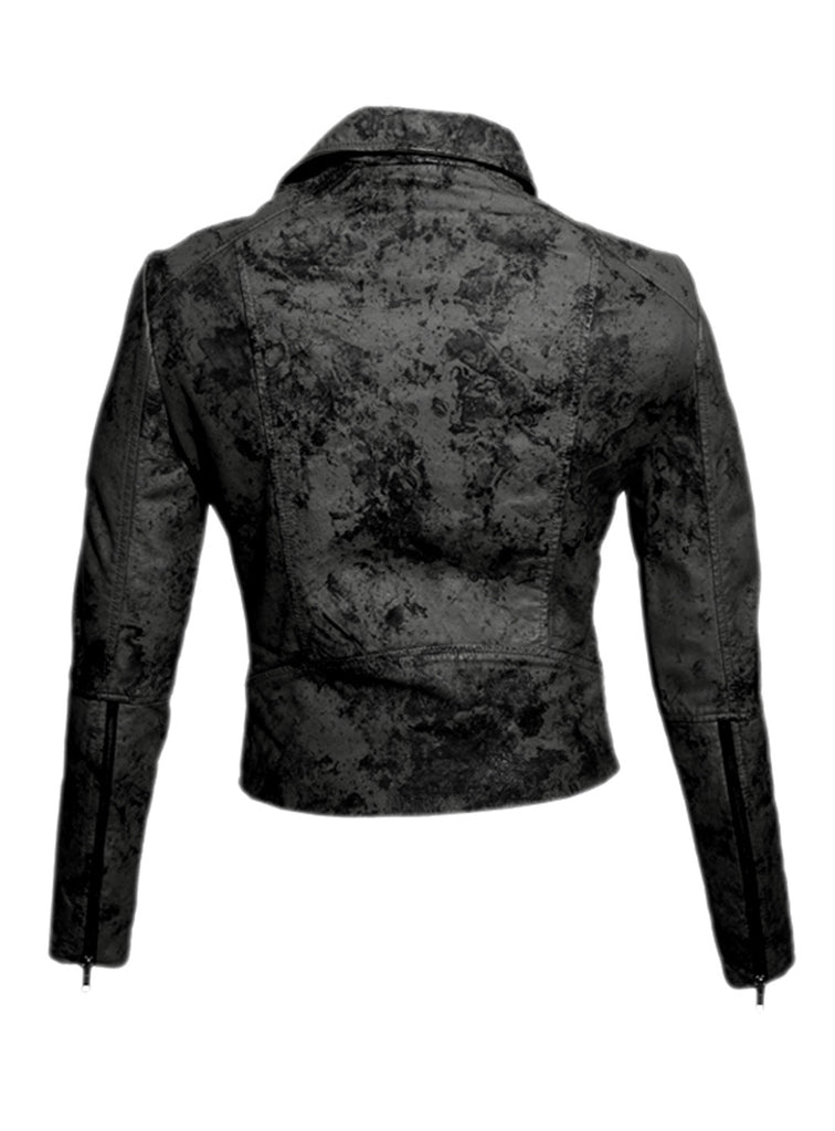 Women Marbled Leather Biker Jacket , Women Jacket - CrabRocks, LeatherfashionOnline  - 7