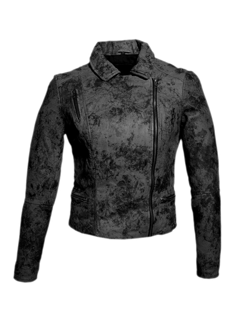 Women Marbled Leather Biker Jacket XS / LEATHER / Charcoal, Women Jacket - CrabRocks, LeatherfashionOnline  - 3