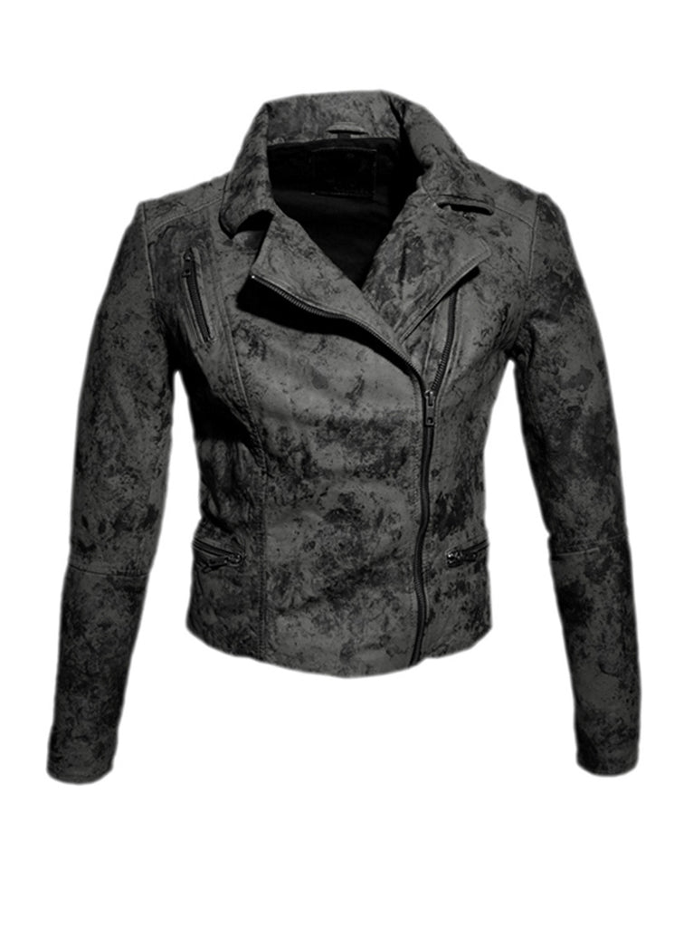 Women Marbled Leather Biker Jacket , Women Jacket - CrabRocks, LeatherfashionOnline  - 5