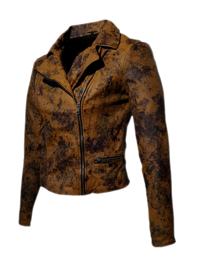 Women Marbled Leather Biker Jacket , Women Jacket - CrabRocks, LeatherfashionOnline  - 4