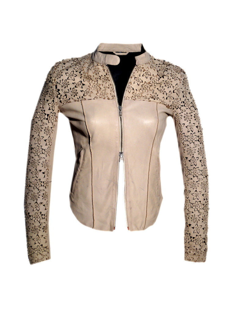 Leather Women Jacket with Designer Floral Perforation