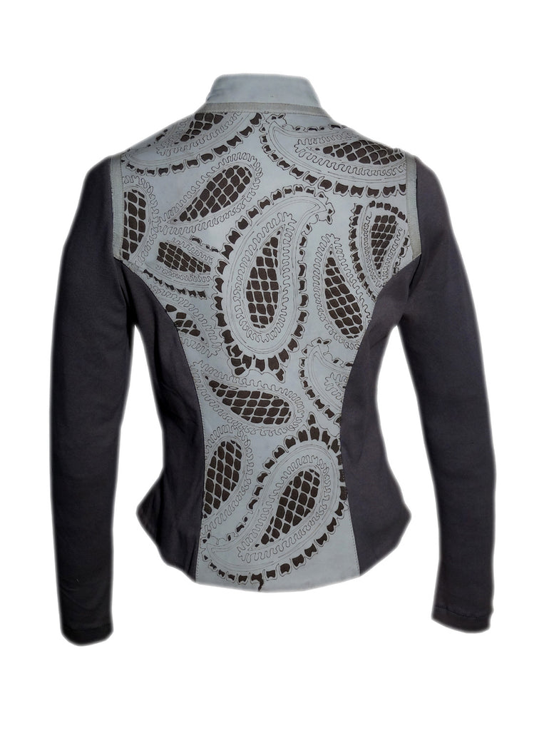 Women Leather Designer Paisley Cut Jacket in Front and back with Ribbed Sleeves , Women Jacket - CrabRocks, LeatherfashionOnline  - 5