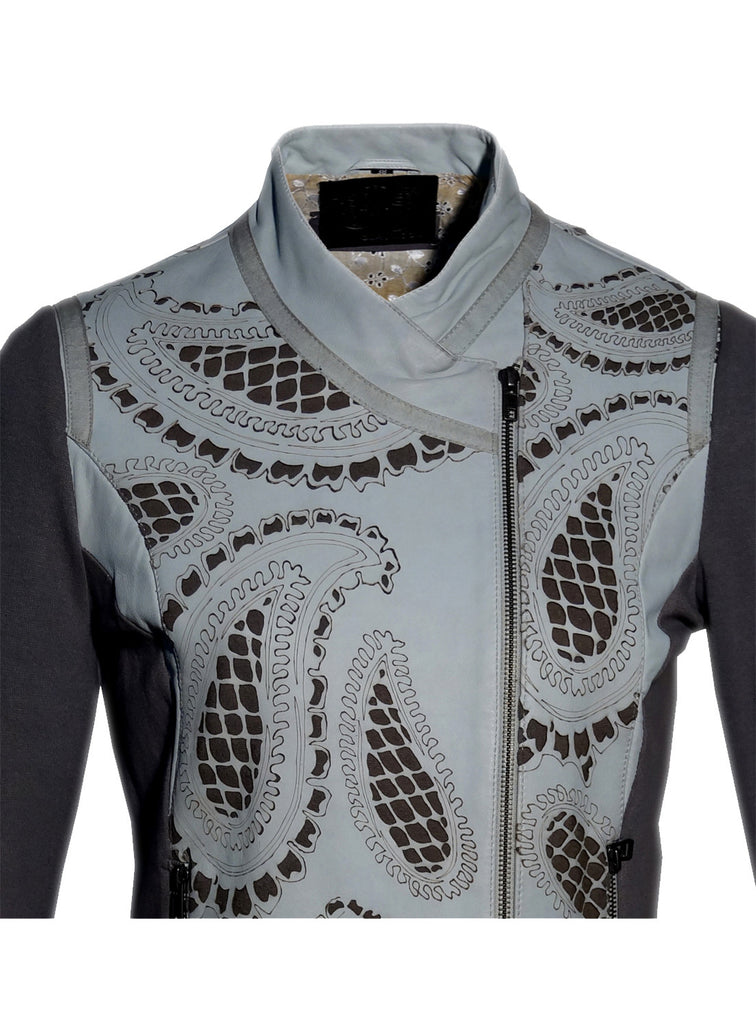 Women Leather Designer Paisley Cut Jacket in Front and back with Ribbed Sleeves , Women Jacket - CrabRocks, LeatherfashionOnline  - 4