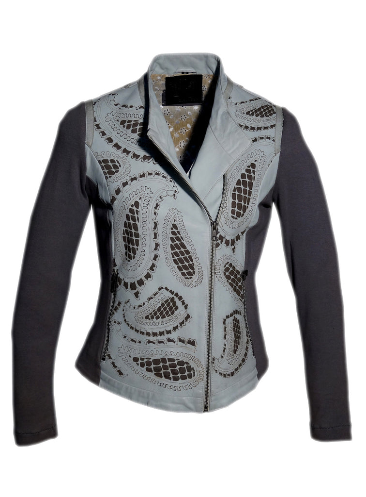 Women Leather Designer Paisley Cut Jacket in Front and back with Ribbed Sleeves , Women Jacket - CrabRocks, LeatherfashionOnline  - 2