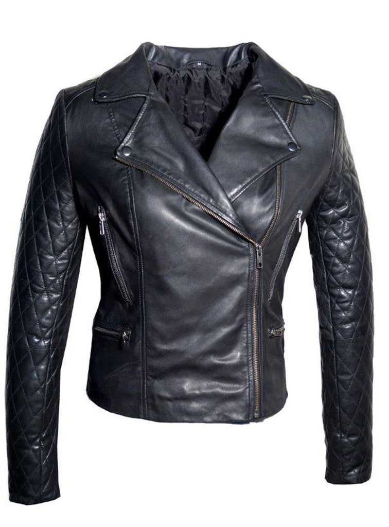 Women Leather Biker Jacket with Padded Sleeve Black / XS / LEATHER, Women Jacket - CrabRocks, LeatherfashionOnline  - 1