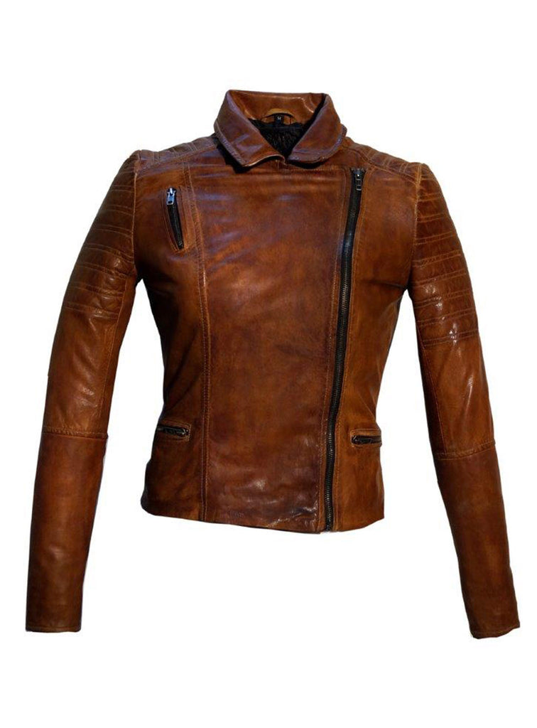 Women Leather Biker Jacket , Women Jacket - CrabRocks, LeatherfashionOnline  - 4