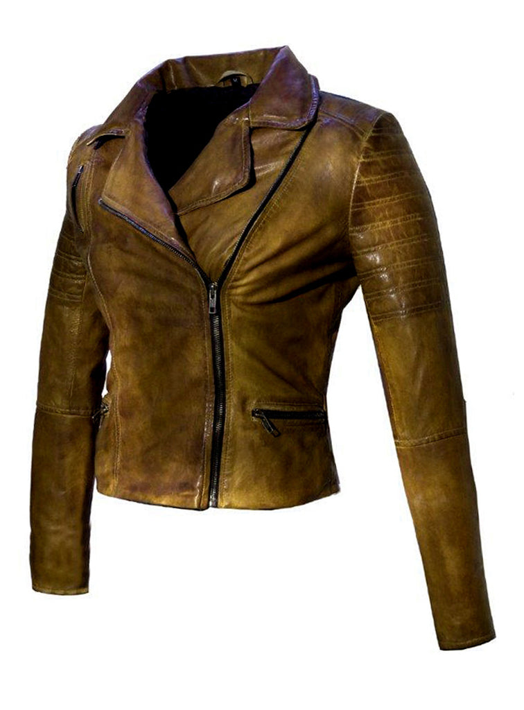 Women Leather Biker Jacket , Women Jacket - CrabRocks, LeatherfashionOnline  - 1