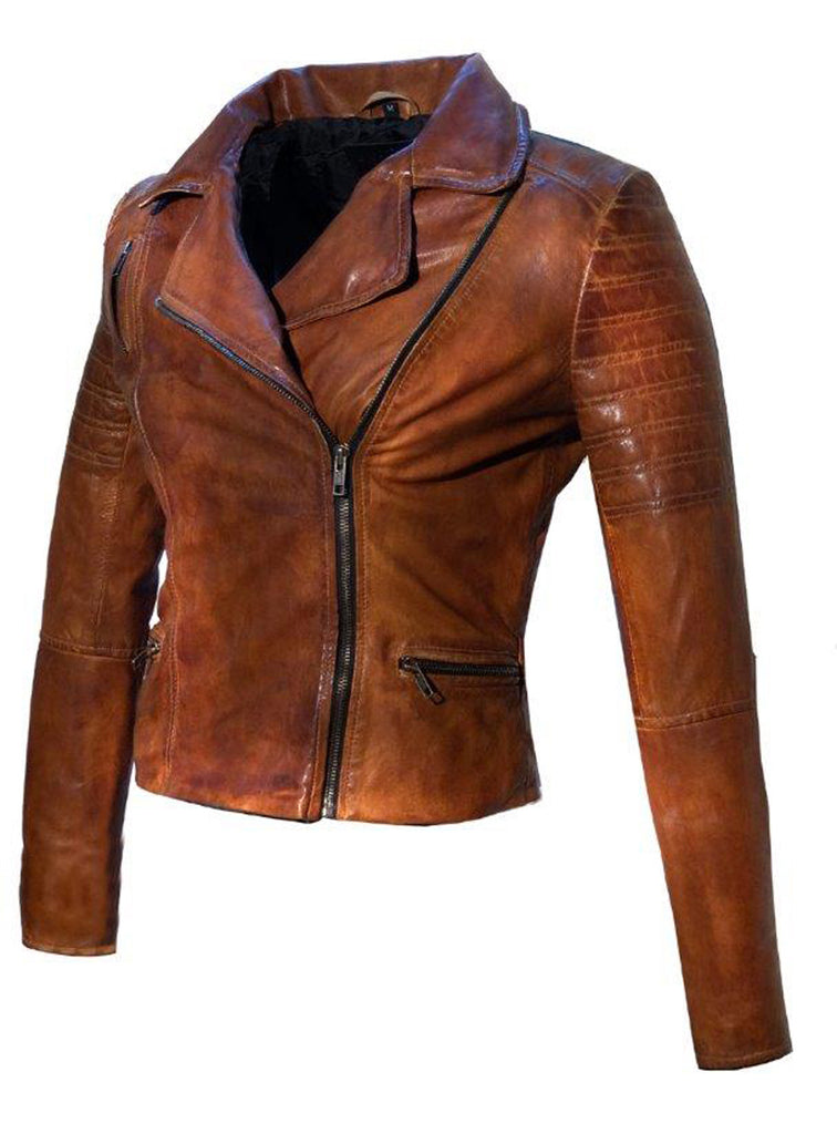 Women Leather Biker Jacket , Women Jacket - CrabRocks, LeatherfashionOnline  - 8