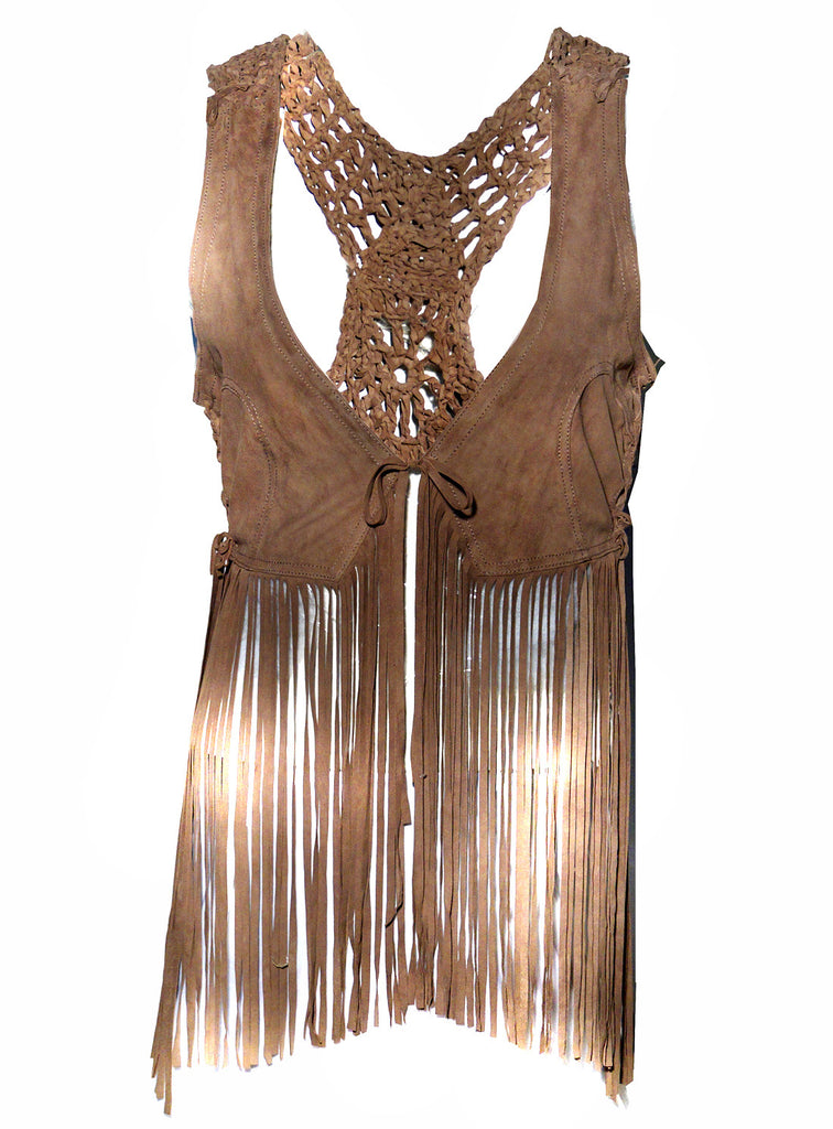 Hand Crafted Leather Macrame Women Dress with Fringes Brown / XS / LEATHER, Women Jacket - CrabRocks, LeatherfashionOnline  - 1