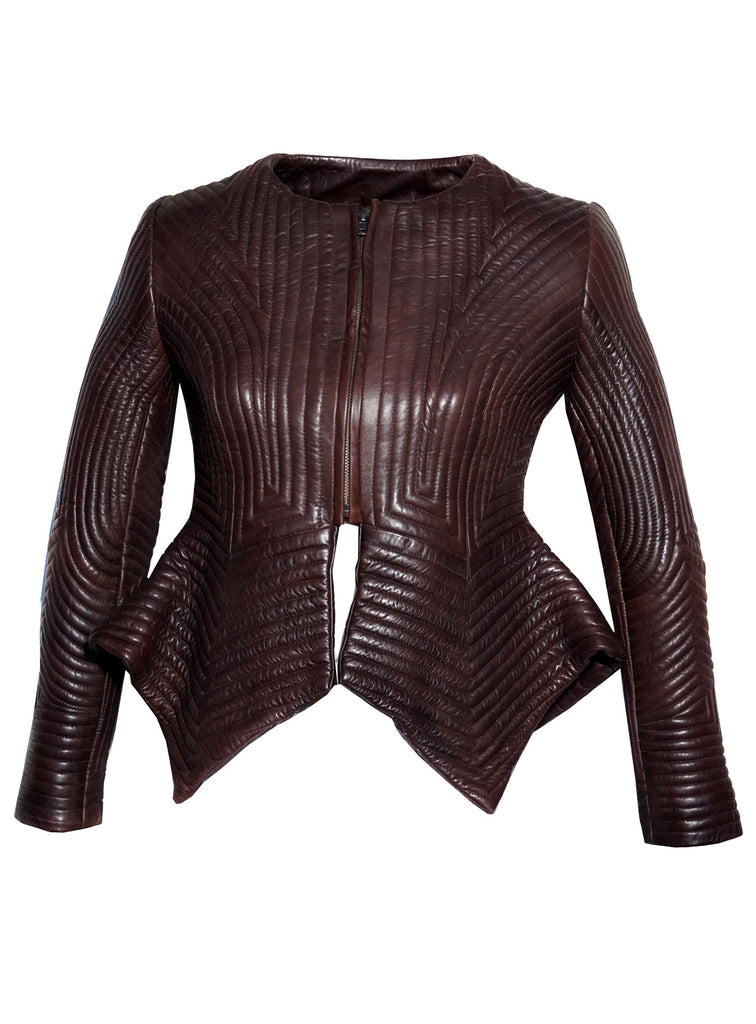 Women Multi Stitch Leather Frock Jacket , Women Jacket - CrabRocks, LeatherfashionOnline  - 3
