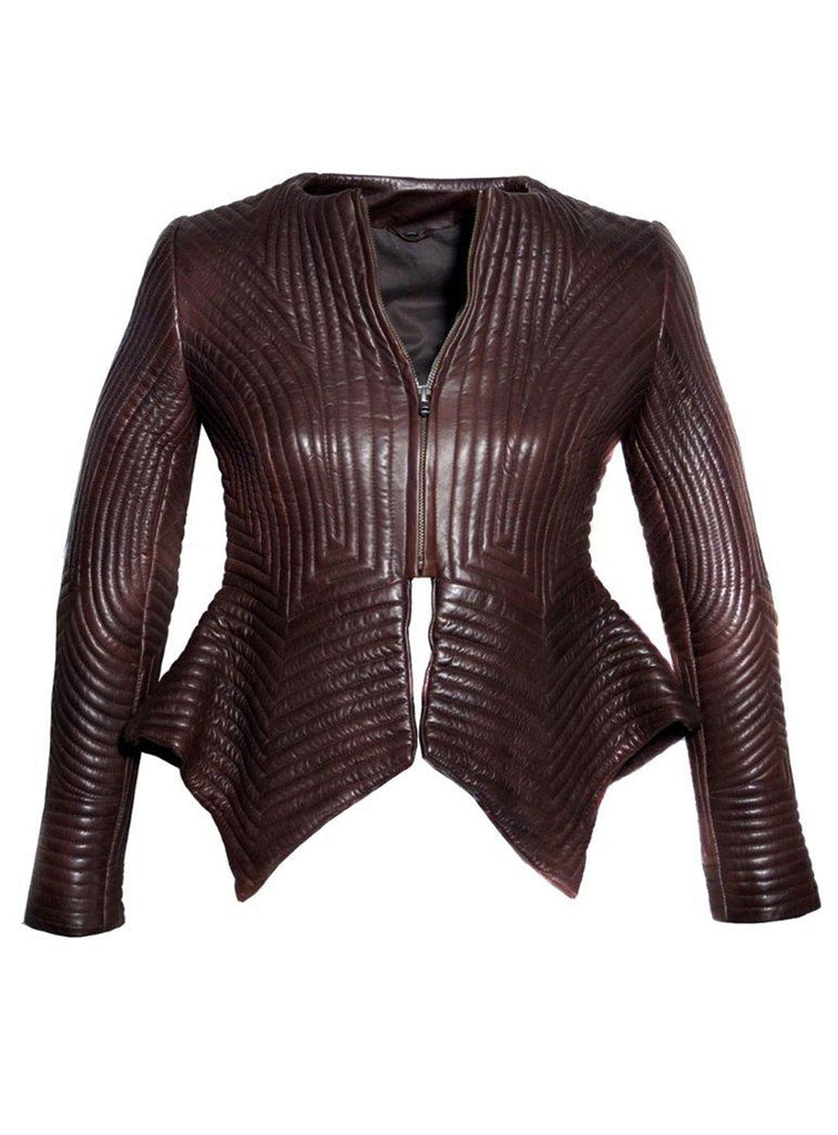 Women Multi Stitch Leather Frock Jacket , Women Jacket - CrabRocks, LeatherfashionOnline  - 4