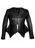 Women Multi Stitch Leather Frock Jacket