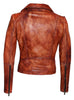 Women Designer Vintage Hand Washed Biker Jacket , Women Jacket - CrabRocks, LeatherfashionOnline  - 3