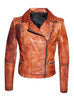 Women Designer Vintage Hand Washed Biker Jacket , Women Jacket - CrabRocks, LeatherfashionOnline  - 4