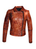 Women Designer Vintage Hand Washed Biker Jacket , Women Jacket - CrabRocks, LeatherfashionOnline  - 1