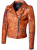 Women Designer Vintage Hand Washed Biker Jacket , Women Jacket - CrabRocks, LeatherfashionOnline  - 2