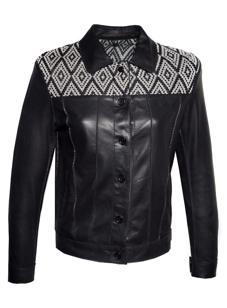 Leather Short Jacket with Jacquard Leather Weave at Front and Back Yoke.