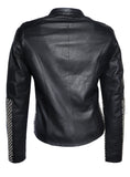 CrabRocks Leather Designer Women Jacket with Blended Weave