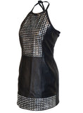 Women Sexy Leather Dress with halter neck ties with Jersey Bonded Fabric