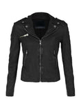 Leather Washed Vintage Women Jacket XS / LEATHER / Black, Women Jacket - CrabRocks, LeatherfashionOnline  - 1