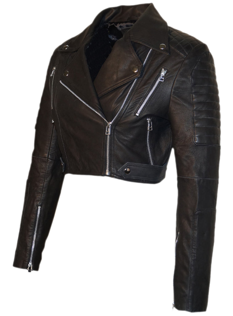 Hand made Short Cropped Bolero Style Leather Motorcycle Biker Women Jacket